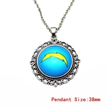 1pcs 20 Inch Chains Necklace Vintage  Flower Football San Diego Chargers Glass Pendant Necklace For Men Sports Necklace Jewelry