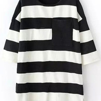 White Black Bold Stripes Jumper