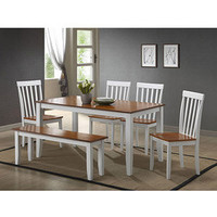 Walmart: Boraam 6-Piece Bloomington Dining Set, White / Honey Oak