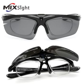 Polarized Sports Men Sunglasses Road Cycling Glasses Mountain Bike Bicycle Riding Protection Goggles Eyewear Flip Up Lens