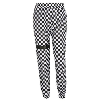 Women Fashion Plaid High Waist Pants Patchwork Checkboard Streetwear Sweatpants Elastic Loose Pencil Pants Trousers