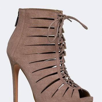 SLIT LACE UP BOOTIE