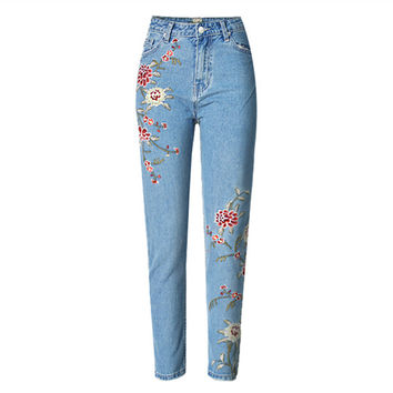 Embroidery Jeans American Apparel Pant Highwaist Skinny Blue Jeans  For Women Jean Slim Femme 2017