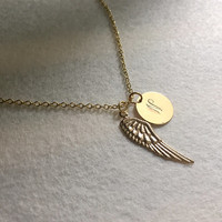 Gold Angel wing necklace, Gold initial pendant bridesmaid necklace, Personalized necklace, Angel wing pendant, statement initial Lariat Gift