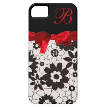 Monogram, Red Bow, B & W iPhone 5/5S Case