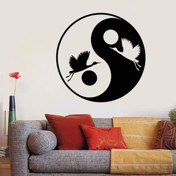 Vinyl Wall Decal Japanese Asiatic Bird Stork Yin Yang Symbol Stickers Unique Gift (1906ig)