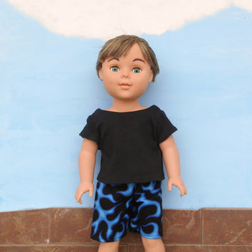18 Inch Doll Clothes, Boy Doll Clothes, Boardshorts and Black T shirt, Swim Trunks, Blue Flame shorts, fits dolls sized like American Girl