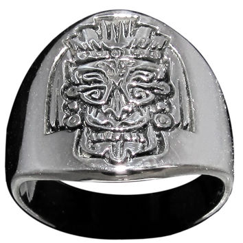 Mayan Mask Ring Inca Symbol in Sterling Silver 925