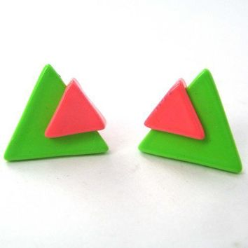 Small Triangle Stud Arrowhead Earrings in Neon Orange and Green