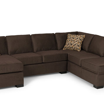 The Stanton 146 Dual Chaise Sectional Sleeper Sofa with Storage (Queen)