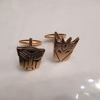 Transformer Gold Plate Cufflinks, Autobot Cufflinks, Decepticon Cuff Links, Wedding Cuff Links, Father's Day, Graduation