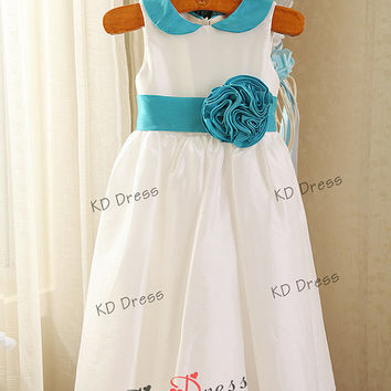 20% OFF !!!Peter pan collar Ivory Taffeta Flower Girl/Toddler Birthday Party Dress with Ice Blue Sash/Flower (Z1012)