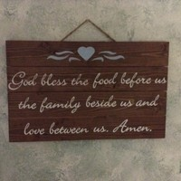 Kitchen Wall Decor, Rustic Farmhouse Country Chic Wood Pallet Kitchen Sign God Bless The Food Before Us The Family Beside Us Love Between Us