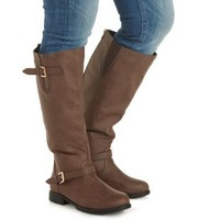 Brown WIDE FIT Flat Riding Boots by Charlotte Russe