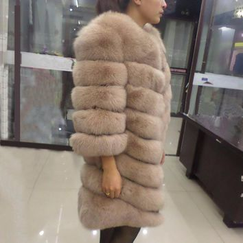 Linhaoshengyue 90CM longer section of natural real  fox fur coat,fur  coat natural ,real  fur  coat,