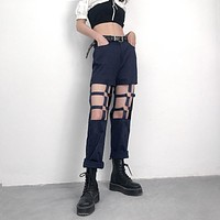 Women's Fashion Summer Hot Sale Irregular Ring Hollow Out Casual Ripped Holes Pants [2051162734689]