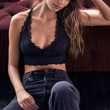 Out From Under All Over Scallop Black Lace Racerback Bralette - Urban Outfitters