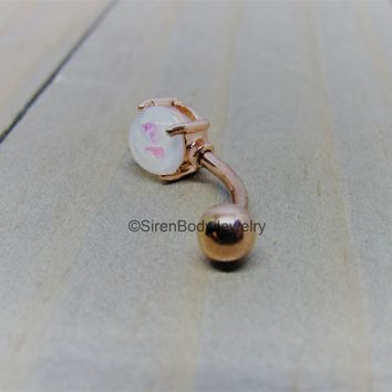 Rose gold belly button ring 14g white opal prong set gemstone 316 stainless steel