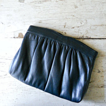 Vintage Navy Leather Clutch by bergenhouse on Etsy