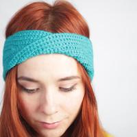 turquoise head wrap, Twisted Center Hair Wrap, Cute hair winter accessories, vegan, ready to ship