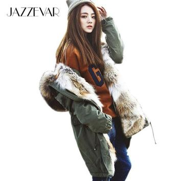 LMFONRZ 2016 New Fashion women's army green Large raccoon fur collar hooded long coat parkas outwear rabbit fur lining winter jacket