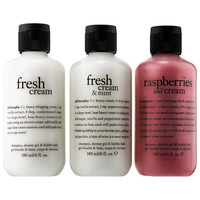 Sephora: philosophy : Fresh Cream & Mint with Berries on Top Shampoo, Shower Gel & Bubble Bath Trio : perfume-gift-sets