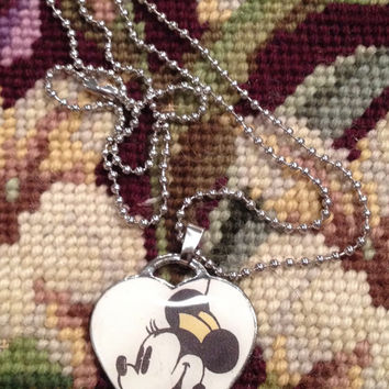 Disney's Classic Minnie Mouse Heart Shaped Dog Tag Necklace