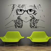 Wall decal art decor decals sticker anime Japan girl art movie cartoon tears sorrow glasses braid (m859)