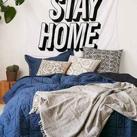 Stay Home Text Tapestry