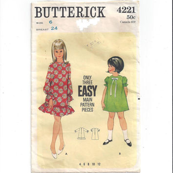Butterick 4221 Pattern for Girls' 1 Piece Dress, Size 6, From 1960s, Easy Sew Pattern, 3 Main Pieces, Vintage Pattern, Home Sewing Pattern