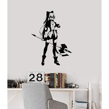 Vinyl Wall Decal Anime Girl Warrior Manga Asian Art Gamer Room Interior Stickers Mural (ig5719)