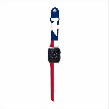 "Bruce Stanfield ""Texas Flag"" Red Blue Apple Watch Strap"
