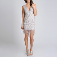 R & M Richards Women's Champagne Crocheted Cocktail Dress