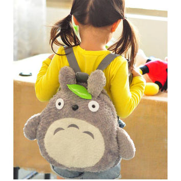 Girls Kawaii Green Leaf Backpacks Cute My Neighbor Totoro School Book Bags Soft Plush Kids Children Christmas Festival Gift 891t