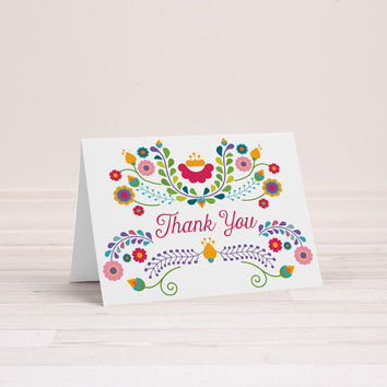 Thank You Card, Set of 10 | Fiesta, Birthday, Mexican, Dia De Los Muertos, Cinco De Mayo, 1st Birthday, Bridal Shower, Wedding | Julieta
