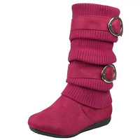 Kids Mid Calf Boots Knitted Calf and Buckle Accent Casual Shoes Pink SZ