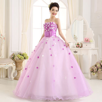New Designs In Stock off the Shoulder Flower Pattern Floral Chiffon Quinceanera Dress Gown Party Long Prom dresses 2017