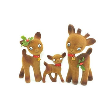Vintage Christmas Deer, Kitschy Flocked Deer Figurines, Vintage Christmas Decor, Googly Eyes,Holly, Family of Deer, Mom Dad and Baby, 1960's