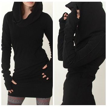Women Autumn Long Sleeve Pure Color Hooded Hoodies Slim Fit Pullover Mini Skirt S-XL Body con Dress