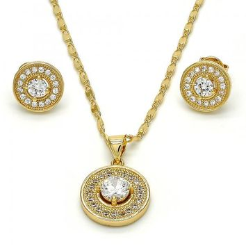 Gold Layered Necklace and Earring, with Cubic Zirconia and Micro Pave, Gold Tone
