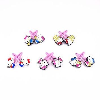 New pack 10PCS/LOT Kawaii Cartoon Hello Kitty Pink Hair Clip Girls Children Hair Accessories Hair Pins Kids Headwear Hairpins