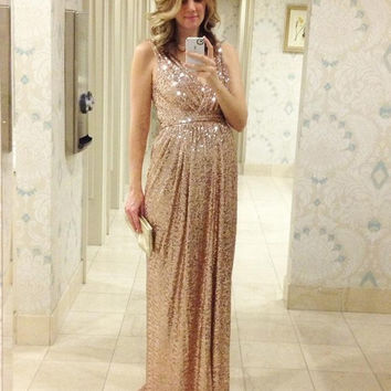 Long Plus Size Sequin Bridesmaid Dresses Champagne Floor Length Maternity Pregnant  Women Party Gowns