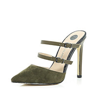 River Island Womens Dark green point double strap mules