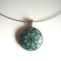Trendy Dark Green Mint Necklace Green Pendant, Sacred Geometry, Hand Painted Jewelry , Choker Jewelry Wire