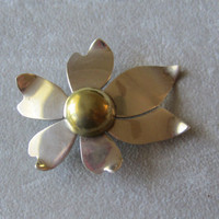 "Vintage Taxco Sterling Silver and Brass ""Freedom Flower"" Brooch, Ca. 1979"