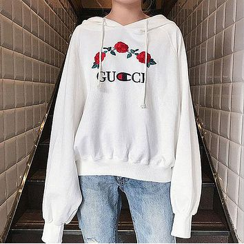 GUCCI  Embroidery Rose Flower Blouse Loose Top Sweater Hoodie Sweatshirt