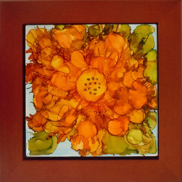 Autumn Bloom Alcohol Ink Painting on Ceramic Tile with Walnut Frame