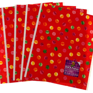 """Lot 24 Duck Fabric Crafting Tape Sheet Red Coral Polka Dots 8 x 10"""" Decorate DIY"""
