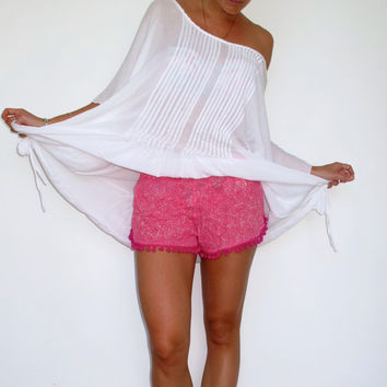 Pom Pom Shorts, Hot Pink & White Fern Print with Hot Pink or White Cotton Pom Pom's - 70's inspired gym shorts