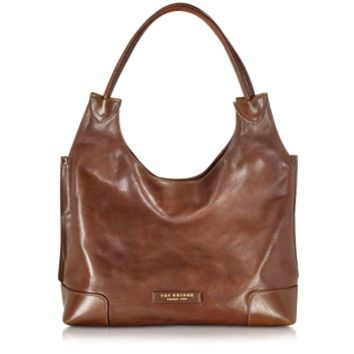 The Bridge Designer Handbags Arrow Marrone Leather Hobo Bag